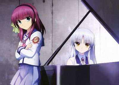 piano, Angel Beats!, school uniforms, Tachibana Kanade, anime, Nakamura Yuri, anime girls - related desktop wallpaper