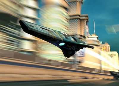 video games, aircraft, futuristic, PlayStation, Wipeout, vehicles, Wipeout HD, blurred, levitation, race ship - random desktop wallpaper