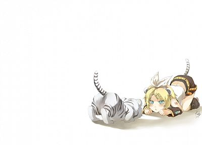 tails, Vocaloid, tigers, Kagamine Rin, animal ears, simple background, detached sleeves - desktop wallpaper