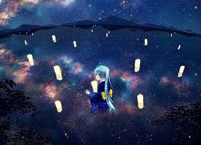 water, landscapes, Vocaloid, night, stars, Hatsune Miku, long hair, kimono, twintails, scenic, aqua eyes, aqua hair, candles, skyscapes, reflections, Japanese clothes - related desktop wallpaper