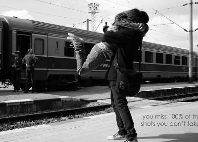 black, white, trains, train stations, monochrome, vehicles, lovers, greyscale, hugging - random desktop wallpaper