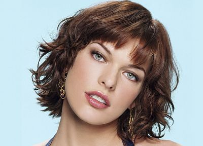 women, actress, models, short hair, earrings, teeth, Milla Jovovich, faces - random desktop wallpaper