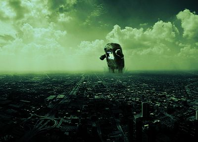 cityscapes, monsters, architecture, domo, buildings, giant, Domo-kun - related desktop wallpaper