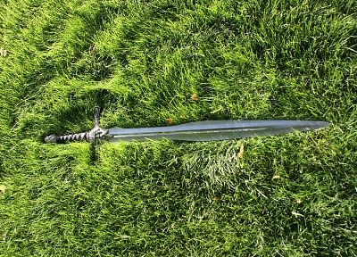 nature, grass, weapons, plants, swords - related desktop wallpaper