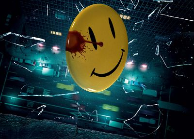 Watchmen, blood, glass, smiley, shattered, smiling, artwork - random desktop wallpaper