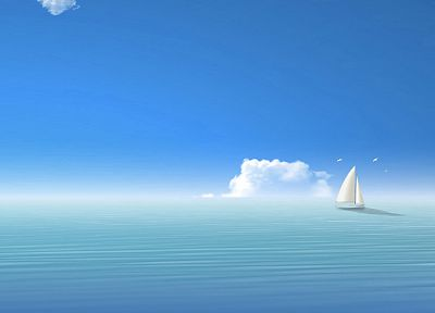 water, ocean, clouds, birds, sail, ships, vehicles, sea - related desktop wallpaper
