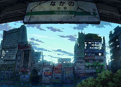 Japan, ruins, post-apocalyptic, signs, artwork, anime, Ivy, abandoned, flooded, cities, Nakano, TokyoGenso - random desktop wallpaper