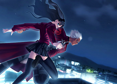 Fate/Stay Night, Tohsaka Rin, Type-Moon, Archer (Fate/Stay Night), Fate series - random desktop wallpaper