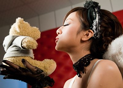 women, closed eyes, teddy bears - random desktop wallpaper