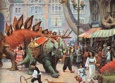 dinosaurs, fantasy art, Dinotopia - related desktop wallpaper