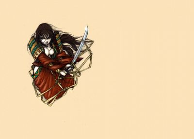 brunettes, women, samurai - desktop wallpaper