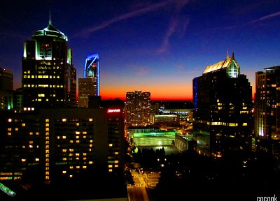 sunset, cityscapes, Charlotte - random desktop wallpaper