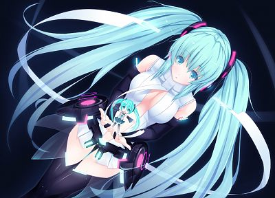 Vocaloid, Hatsune Miku, twintails, Miku Append, Vocaloid Append, detached sleeves - related desktop wallpaper