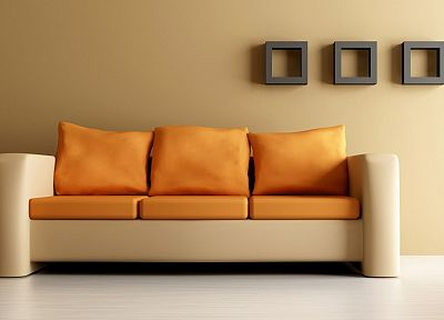 couch, orange - random desktop wallpaper