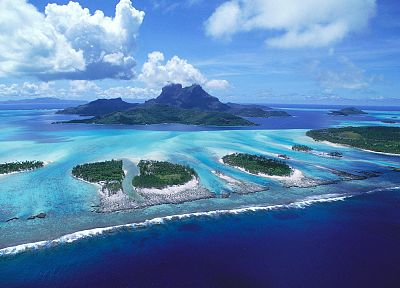 ocean, clouds, landscapes, nature, islands, skyscapes, Bora Bora - related desktop wallpaper