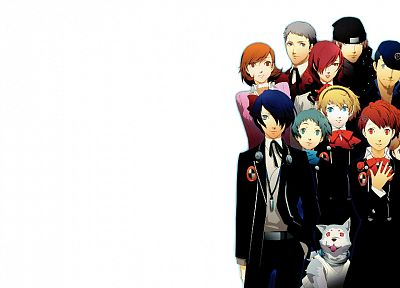 blondes, redheads, long hair, Persona series, blue hair, short hair, Persona 3, anime boys, simple background, anime girls, Arisato Minato, Female Protagonist (Persona 3), white background, Kirijo Mitsuru, Yamagishi Fuuka, Iori Junpei, Sanada Akihiko, Tak - related desktop wallpaper