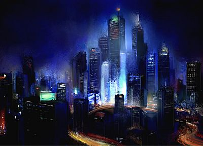 cityscapes, night, skyscrapers, artwork, Philip Straub - random desktop wallpaper