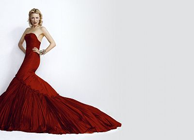 blondes, women, actress, Cate Blanchett, red dress, simple background, white background - related desktop wallpaper