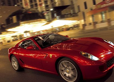 streets, red, cars, Ferrari, vehicles, Ferrari 599 GTB Fiorano - desktop wallpaper