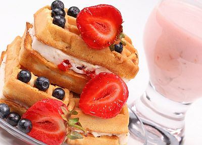 food, waffles, cream, strawberries, blueberries - random desktop wallpaper