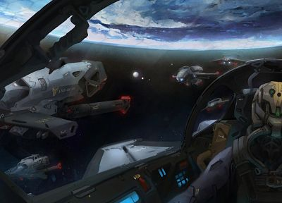 outer space, planets, spaceships, artwork, vehicles - desktop wallpaper