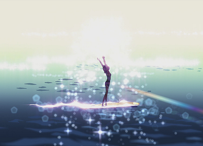 silhouettes, surfing, Makoto Shinkai, 5 Centimeters Per Second, artwork, anime - related desktop wallpaper
