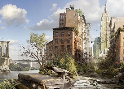 post-apocalyptic, New York City - random desktop wallpaper