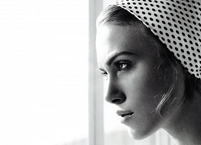 women, Keira Knightley, grayscale, monochrome, polka dots, faces - related desktop wallpaper