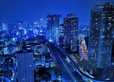 Japan, Tokyo, cityscapes, night, buildings, city lights - desktop wallpaper