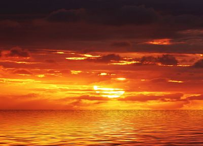 sunset, clouds, Sun, sea - random desktop wallpaper