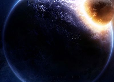 outer space, stars, explosions, planets, cataclysm, Greg Martin - related desktop wallpaper