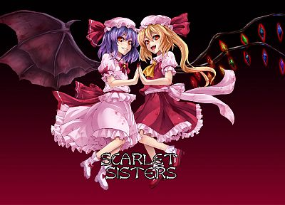 Touhou, vampires, Flandre Scarlet, Remilia Scarlet, Embodiment of Scarlet Devil, games - desktop wallpaper