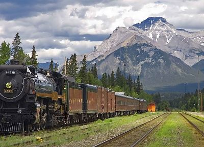 station, trains, Alberta, steam engine, Banff National Park, National Park - random desktop wallpaper