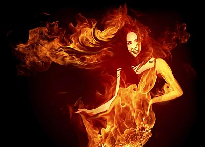 women, flames, fire, black background - related desktop wallpaper
