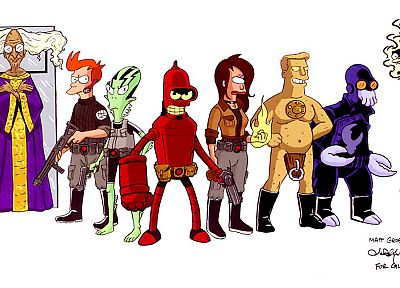 Futurama, Bender, Hellboy, Dr Zoidberg, alternative art, Professor Farnsworth, Turanga Leela, Zapp Brannigan, Philip J. Fry - duplicate desktop wallpaper