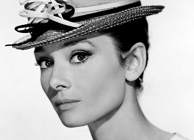 brunettes, women, Audrey Hepburn, legend, simple background - random desktop wallpaper