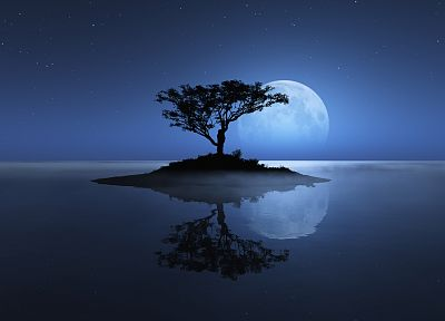 blue, landscapes, nature, trees, stars, Moon, moonlight, islands, digital art, reflections, photo manipulation - desktop wallpaper