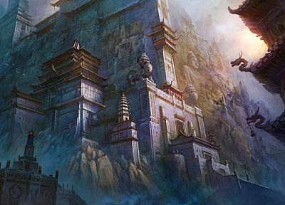 architecture, paint, buildings, fantasy art, artwork, Asian architecture, Fan Ming - desktop wallpaper