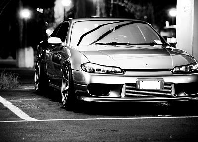 cars, monochrome, Nissan Silvia S15, JDM Japanese domestic market - desktop wallpaper