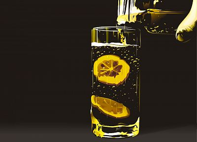 glass, hands, bubbles, artwork, drinks, lemonade, simple background, lemons - related desktop wallpaper