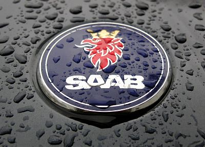 Saab, water drops, logos - desktop wallpaper