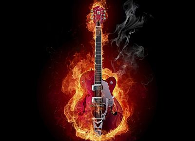 flames, fire, guitars, black background - random desktop wallpaper