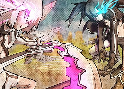 Black Rock Shooter, scythe, White Rock Shooter, anime girls - random desktop wallpaper