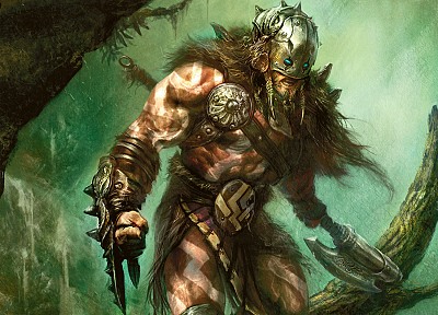 Magic: The Gathering, weapons, fantasy art, artwork, warriors, garruk - random desktop wallpaper