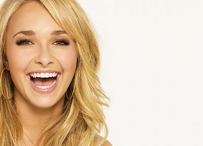 blondes, women, actress, Hayden Panettiere, celebrity, smiling, faces, white background - desktop wallpaper