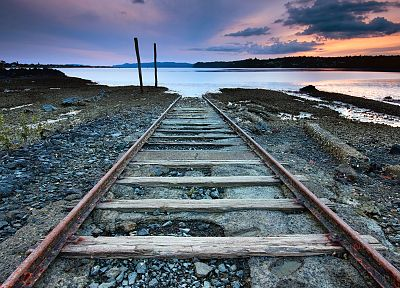 sunset, clouds, landscapes, nature, railroad tracks, sea - related desktop wallpaper