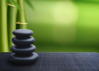 Japan, bamboo, rocks, zen, balance - related desktop wallpaper