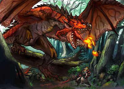 video games, dragons, Monster Hunter, fantasy art, Rathalos - related desktop wallpaper