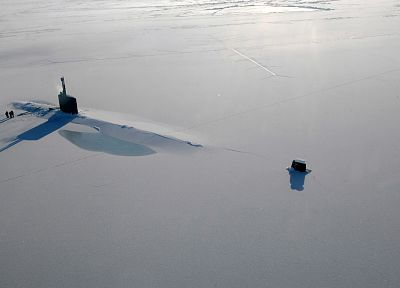 ice, US Navy, submarine, arctic - random desktop wallpaper