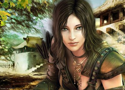 brunettes, women, video games, trees, cleavage, feathers, Guild Wars, green eyes - desktop wallpaper